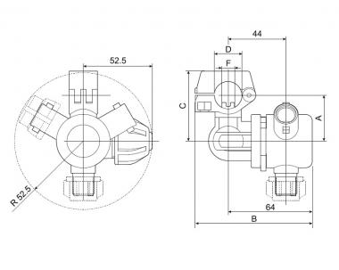 Отсечное устройство 3-х позиционное D=20, F10 (универсальное)
